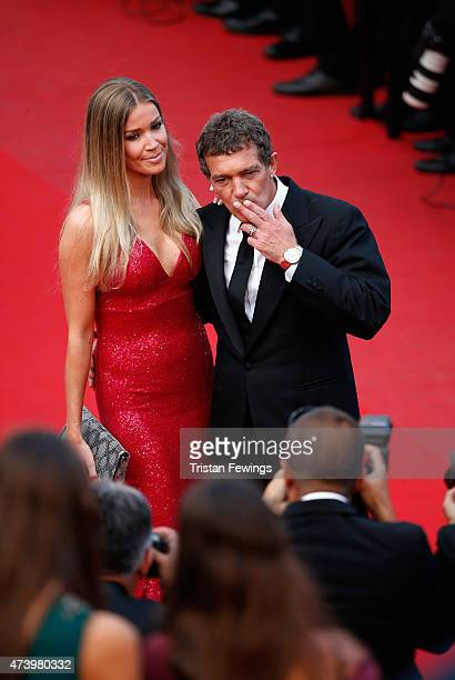 Nicole Kimpel and Antonio Banderas attend the Premiere of 'Sicario' during the 68th annual Cannes Film Festival on May 19 2015 in Cannes France
