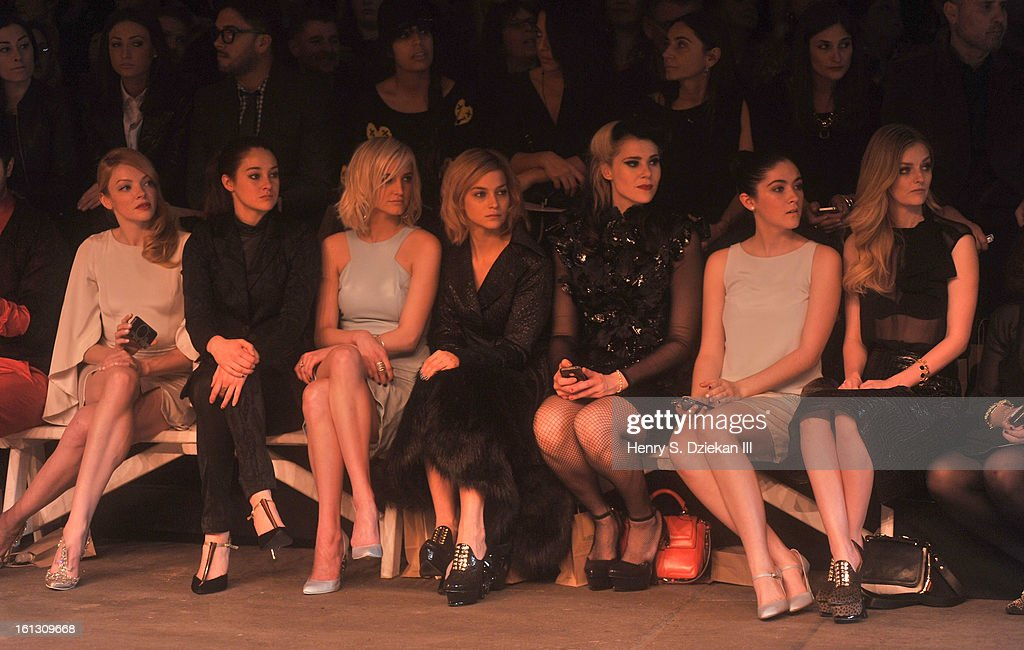 Nicole LaLiberte, Shailene Woodley, Ashlee Simpson, Leigh Lezark, Kate Nash, Isabelle Fuhrman and Lydia Hearst attend Christian Siriano during Fall 2013 Mercedes-Benz Fashion Week at Eyebeam on February 9, 2013 in New York City.