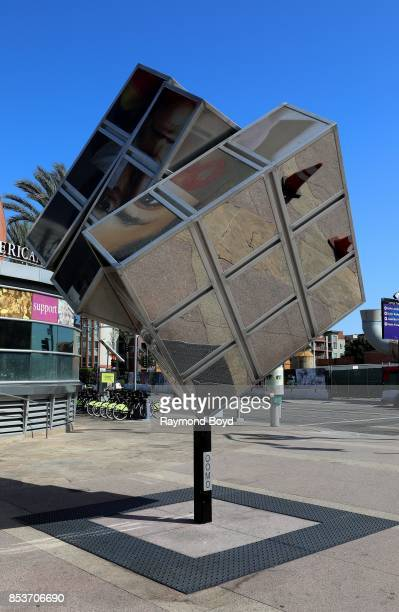 Nicole Maloney's 'Oomo Cube' sculpture sits outside the Japanese American National Museum in Little Tokyo in Los Angeles California on September 10...