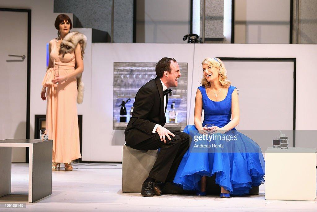 Nicole Marischka, Urs Staempfli and Maria Furtwaengler perform during the 'Geruechte...Geruechte...' photo rehearsal at Komoedie am Kurfuerstendamm Theater on January 9, 2013 in Berlin, Germany.