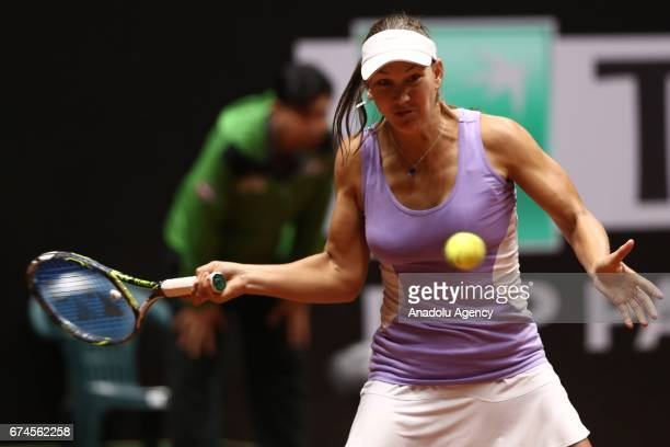 Nicole Melicha of United States returns the ball during the TEB BNP Paribas Istanbul Cup Women's Couple tennis match between Cagla Buyukakcay of...