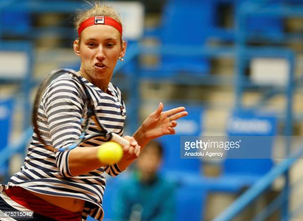 Nicole Melichar and Elise Mertens in action against Dalila Jakupovic and Nadiia Kichenok during the TEB BNP Paribas Istanbul Cup women's double...