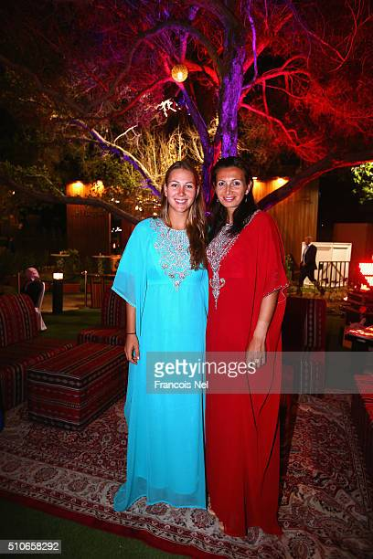 Nicole Melichar of USA and Darija Jurak pose or a picture at the players party during day two of the WTA Dubai Duty Free Tennis Championship at the...