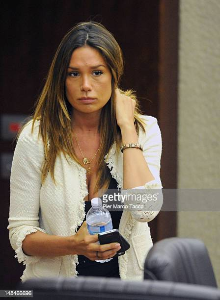 Nicole Minetti gestures during Lombardy Regional Assembly on July 17 2012 in Milan Italy Angelino Alfano secretary of People of Freedom Party has...