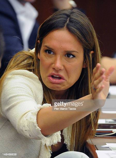 Nicole Minetti gestures during the Lombardy Regional Assembly on July 17 2012 in Milan Italy Angelino Alfano secretary of People of Freedom Party has...
