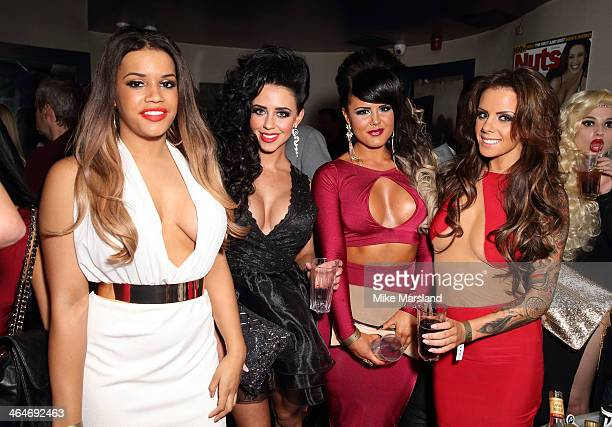 Nicole Morris Jenna Jonathan Natalee Harris and Lateysha Henry attend Nuts 10th Birthday Party at Aura on January 23 2014 in London England