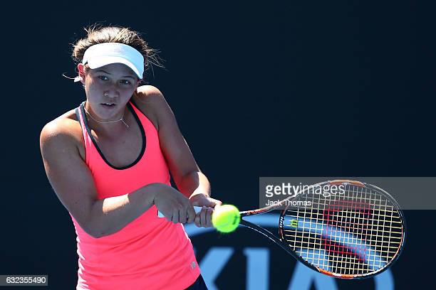 Nicole Mossmer of the United States competes in her first round match against Mai Hontama of Japan during the Australian Open 2017 Junior...