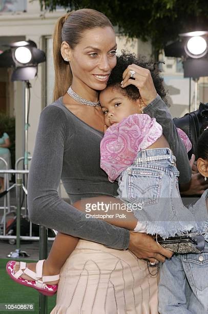 Nicole Murphy and daughter during 'Shrek 2' Los Angeles Premiere Arrivals at Mann Village in Westwood California United States