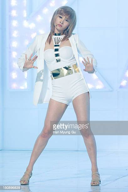 Nicole of South Korean girl group KARA performs during the MBC Music 'Show Champion' at AX Korea on August 28 2012 in Seoul South Korea