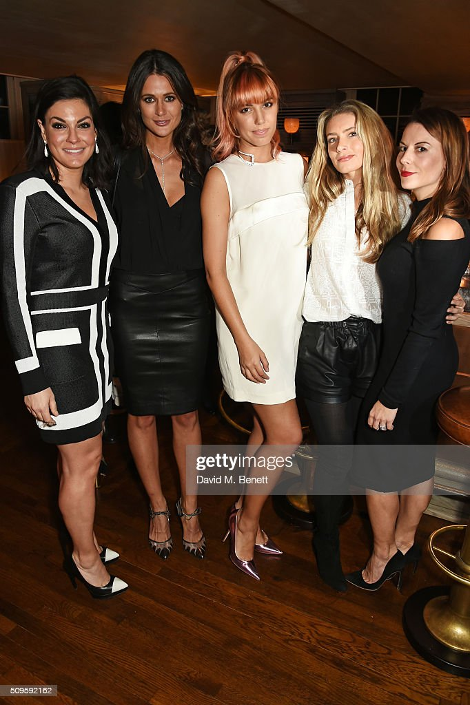 Nicole O'Neil, Kim Johnson, <a gi-track='captionPersonalityLinkClicked' href=/galleries/search?phrase=Amber+Le+Bon&family=editorial&specificpeople=1103030 ng-click='$event.stopPropagation()'>Amber Le Bon</a>, Lucinda Edwards and Juliet Angus attend a private dinner celebrating the APM Monaco flagship store opening at 34 Grosvenor Square on February 11, 2016 in London, England.