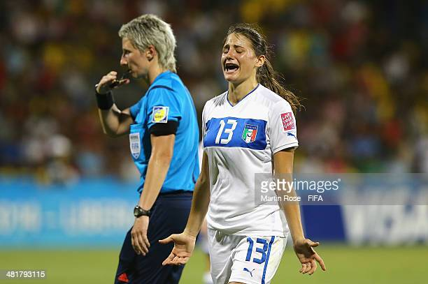 Nicole Peressotti of Italy reacts during the FIFA U17 Women's World Cup 2014 semi final match between Italy and Spain at Edgardo Baltodano Briceno on...