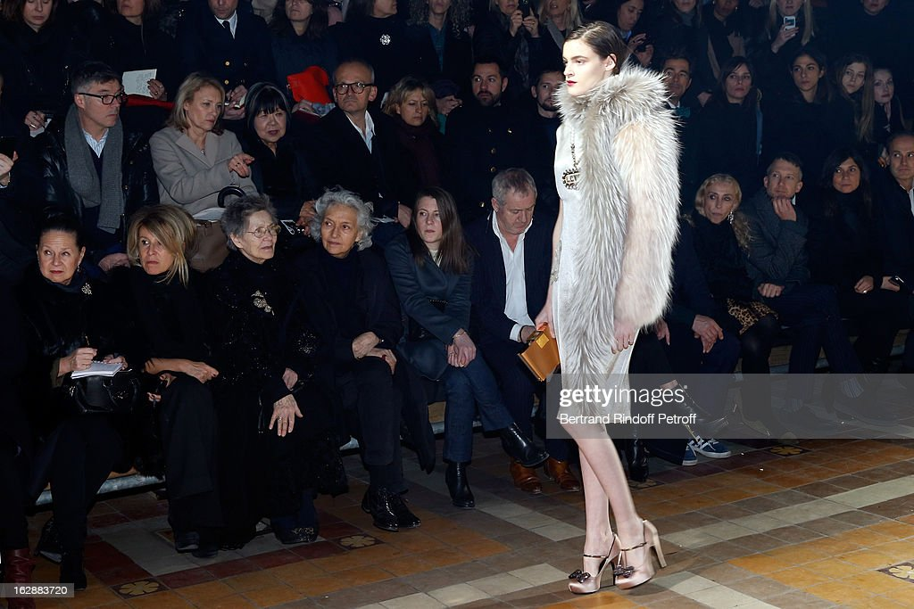 Nicole Picard, Anne-Florence Schmitt, Emmanuelle Riva and guests attend the Lanvin Fall/Winter 2013 Ready-to-Wear show as part of Paris Fashion Week on February 28, 2013 in Paris, France.