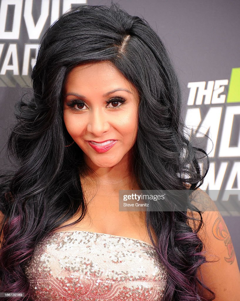 Nicole Polizzi arrives at the 2013 MTV Movie Awards at Sony Pictures Studios on April 14, 2013 in Culver City, California.