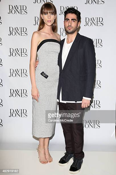Nicole Pollard and Christopher Esber arrives at the David Jones Spring/Summer 2014 Collection Launch at David Jones Elizabeth Street Store on July 30...