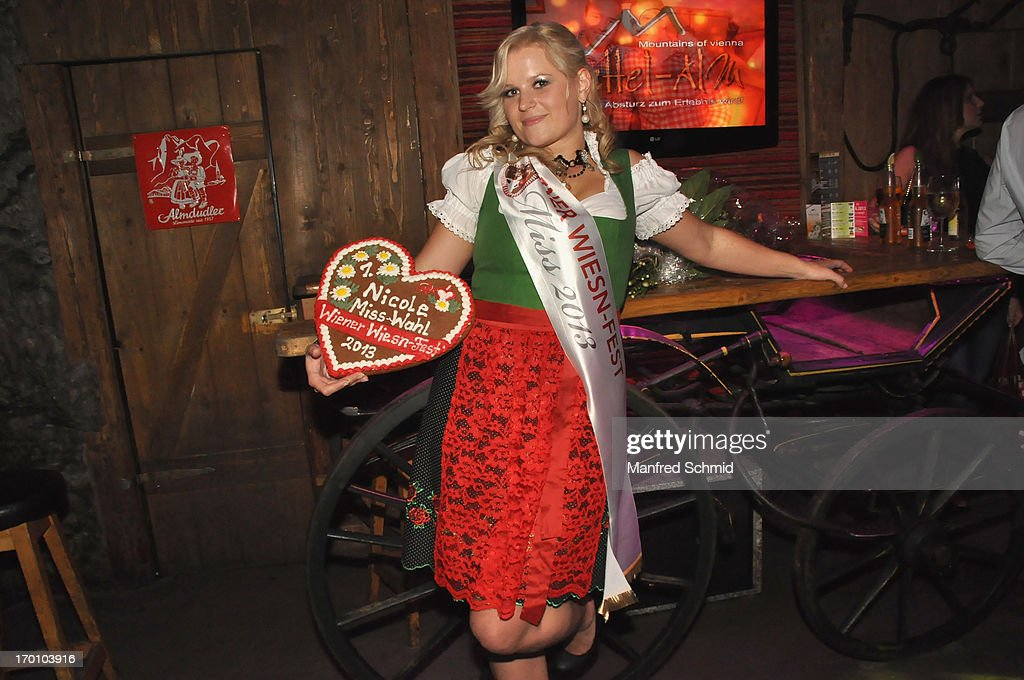 Nicole poses during the beauty competition 'Miss Wiener Wiesn-Fest 2013' at Bettel-Alm on June 6, 2013 in Vienna, Austria.