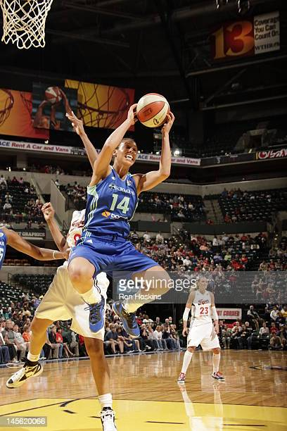 Nicole Powell of of the New York Liberty rebounds against the Indiana Fever at Banker Life Fieldhouse on June 2 2012 in Indianapolis Indiana NOTE TO...