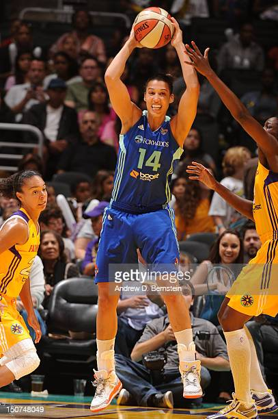 Nicole Powell of the New York Liberty attempts a pass during a game against the Los Angeles Sparks at Staples Center on August 25 2012 in Los Angeles...