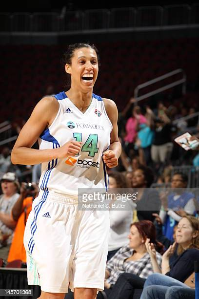 Nicole Powell of the New York Liberty celebrates after defeating the Indiana Fever on June 3 2012 at the Prudential Center in Newark New Jersey NOTE...