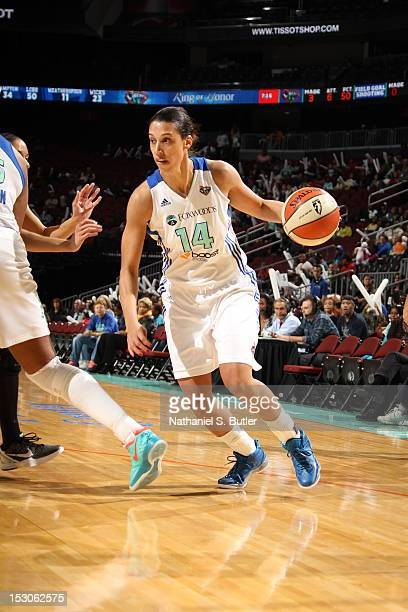 Nicole Powell of the New York Liberty dribbles against of the Connecticut Sun during Game 2 of the Eastern Conference SemiFinals on September 29 2012...