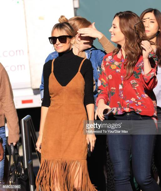 Nicole Richie and Briga Heelan are seen on the set of 'EXTRA' on October 5 2017 in Los Angeles California