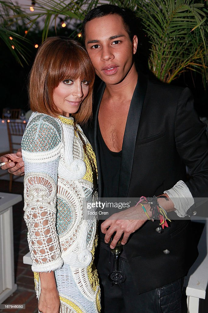 Nicole Richie and Designer Olivier Rousteing attend the Balmain LA Dinner at Chateau Marmont on May 2, 2013 in Los Angeles, California.