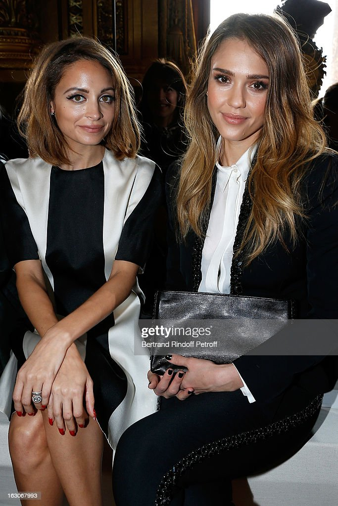<a gi-track='captionPersonalityLinkClicked' href=/galleries/search?phrase=Nicole+Richie&family=editorial&specificpeople=201646 ng-click='$event.stopPropagation()'>Nicole Richie</a> and <a gi-track='captionPersonalityLinkClicked' href=/galleries/search?phrase=Jessica+Alba&family=editorial&specificpeople=201811 ng-click='$event.stopPropagation()'>Jessica Alba</a> attend the Stella McCartney Fall/Winter 2013 Ready-to-Wear show as part of Paris Fashion Week on March 4, 2013 in Paris, France.