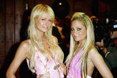 Nicole Richie and Paris Hilton aririve for the 'Simple Life 2' Welcome Home Party at The Spider Club on April 14 2004 in Hollywood California