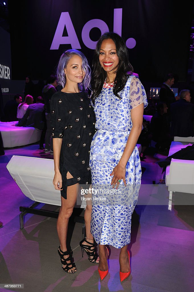 <a gi-track='captionPersonalityLinkClicked' href=/galleries/search?phrase=Nicole+Richie&family=editorial&specificpeople=201646 ng-click='$event.stopPropagation()'>Nicole Richie</a> and <a gi-track='captionPersonalityLinkClicked' href=/galleries/search?phrase=Zoe+Saldana&family=editorial&specificpeople=542691 ng-click='$event.stopPropagation()'>Zoe Saldana</a> at the 2014 AOL NewFronts at Duggal Greenhouse on April 29, 2014 in New York, New York.