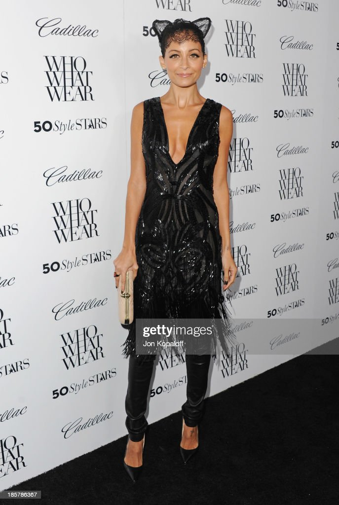 <a gi-track='captionPersonalityLinkClicked' href=/galleries/search?phrase=Nicole+Richie&family=editorial&specificpeople=201646 ng-click='$event.stopPropagation()'>Nicole Richie</a> arrives at Who What Wear And Cadillac's 50 Most Fashionable Women Of 2013 at The London Hotel on October 24, 2013 in West Hollywood, California.