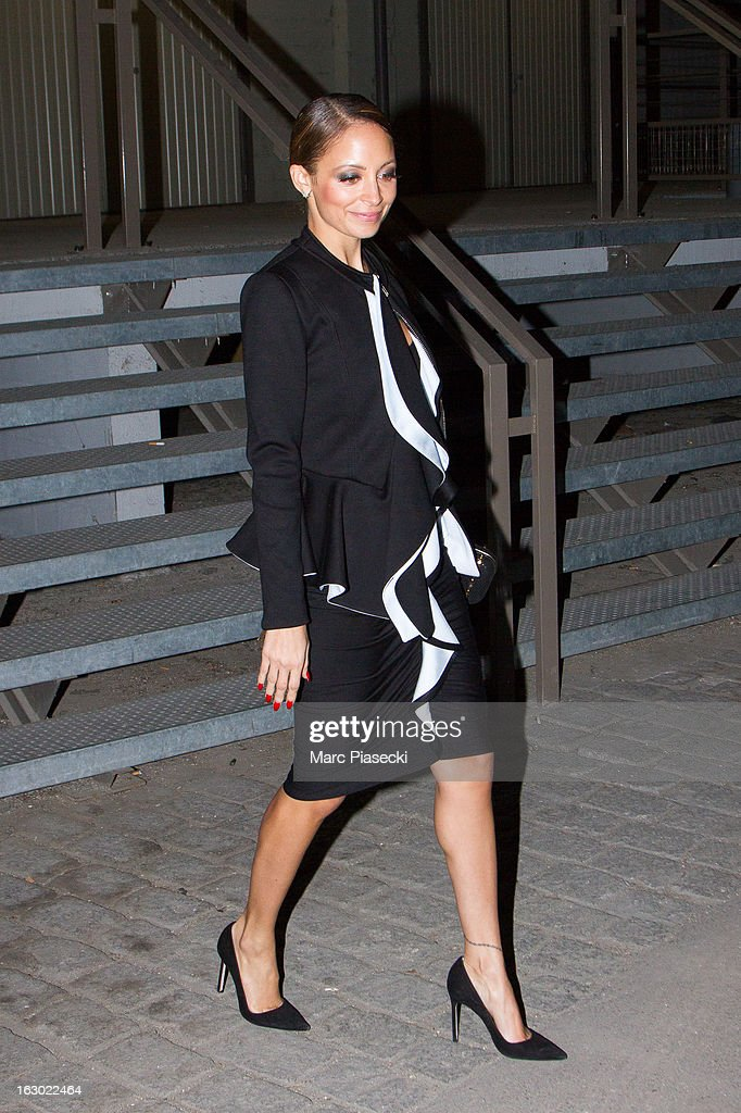 <a gi-track='captionPersonalityLinkClicked' href=/galleries/search?phrase=Nicole+Richie&family=editorial&specificpeople=201646 ng-click='$event.stopPropagation()'>Nicole Richie</a> is seen leaving the 'Givenchy' Fall/Winter 2013 Ready-to-Wear show as part of Paris Fashion Week on March 3, 2013 in Paris, France.