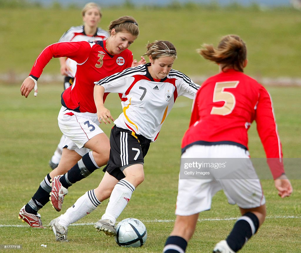 Nicole Rollser of Germany runs with the ball during the U16 Nordic Cup match between Norway and Germany at the Hvolsvollur stadium on June 30, 2008 in Hvolsvoellur, Iceland.
