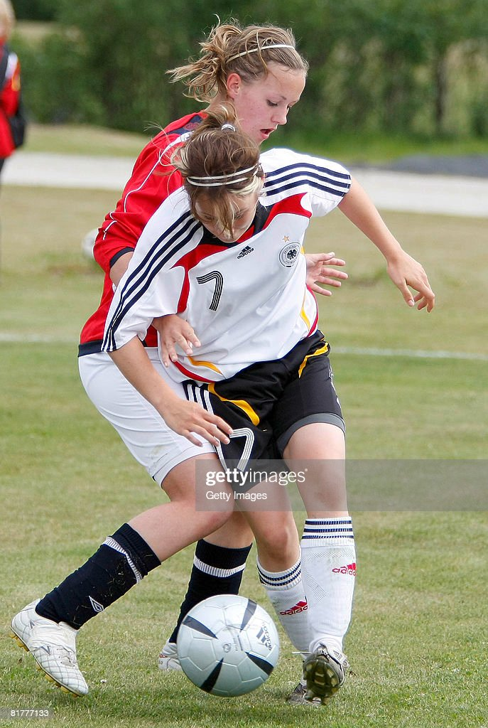 Nicole Rollser passes the ball during the U16 Nordic Cup match between Norway and Germany at the Hvolsvollur stadium on June 30, 2008 in Hvolsvoellur, Iceland.