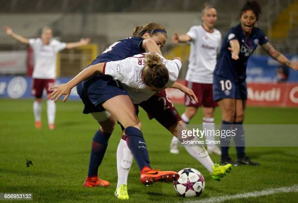 Nicole Rolser of Bayern fights for the ball with Irene Paredes of Paris St Germain during the UEFA women's champions league quarter finals at Stadion...