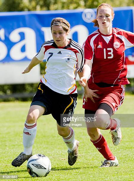 Nicole Rolser of Germany fights for the ball with Amalie Holm of Denmark during the U16 women international friendly match between Denmark and...
