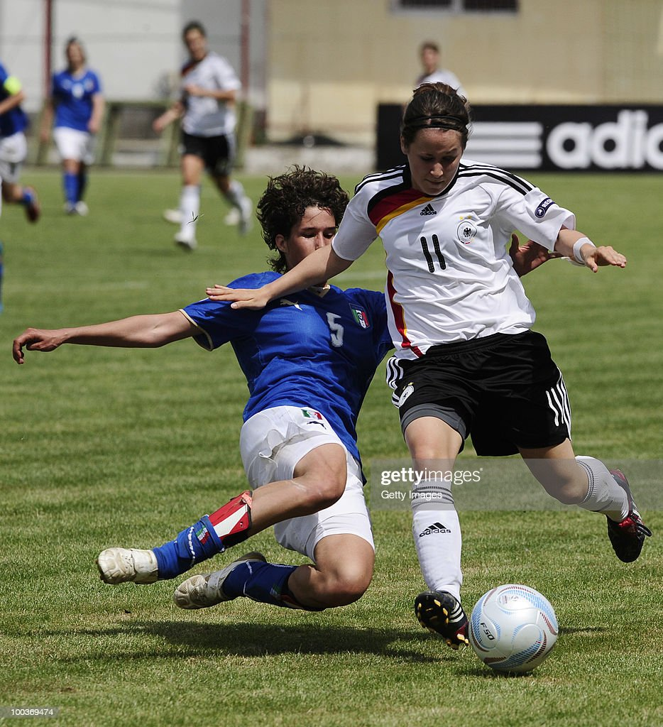 Nicole Rolser (R) of Germany fights for the ball with Roberta Filipozza of Italy during the UEFA Women's Under-19 European Championship group A match between Germany and Italy at Milano Arena on May 24, 2010 in Kumanovo, Macedonia.