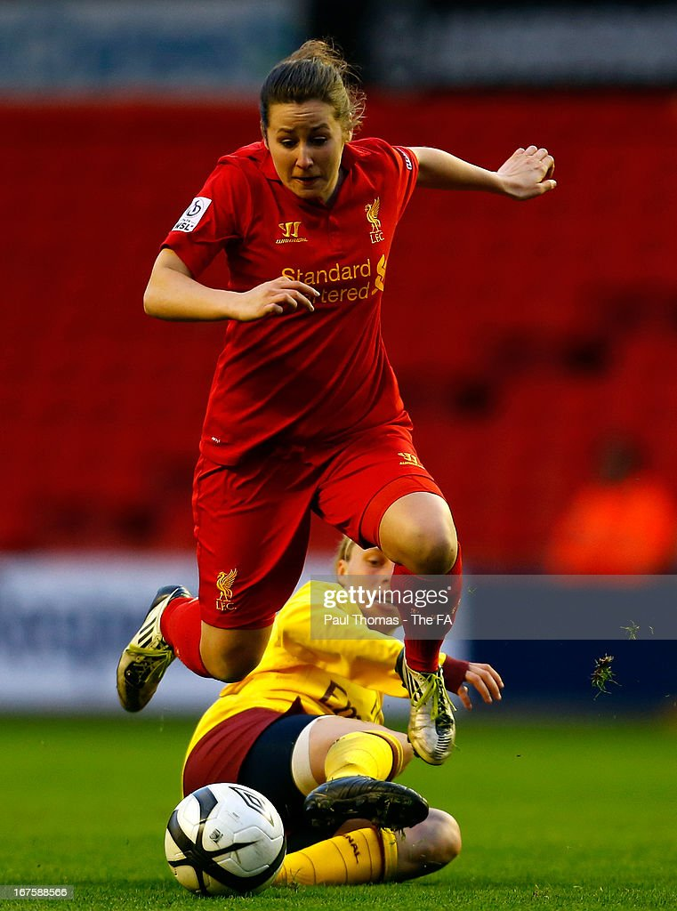 <a gi-track='captionPersonalityLinkClicked' href=/galleries/search?phrase=Nicole+Rolser&family=editorial&specificpeople=4455242 ng-click='$event.stopPropagation()'>Nicole Rolser</a> (L) of Liverpool in action with Gilly Flaherty of Arsenal during the Womens FA Cup Semi Final match between Liverpool Ladies FC and Arsenal Ladies FC at Anfield on April 26, 2013 in Liverpool, England.