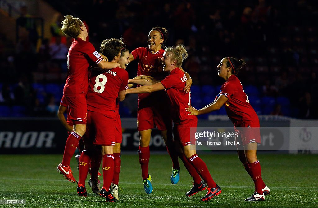 Nicole Rosler of Liverpool celebrates her goal with teammates during the FA WSL match between Liverpool Ladies FC and Chelsea Ladies FC at the Halton...