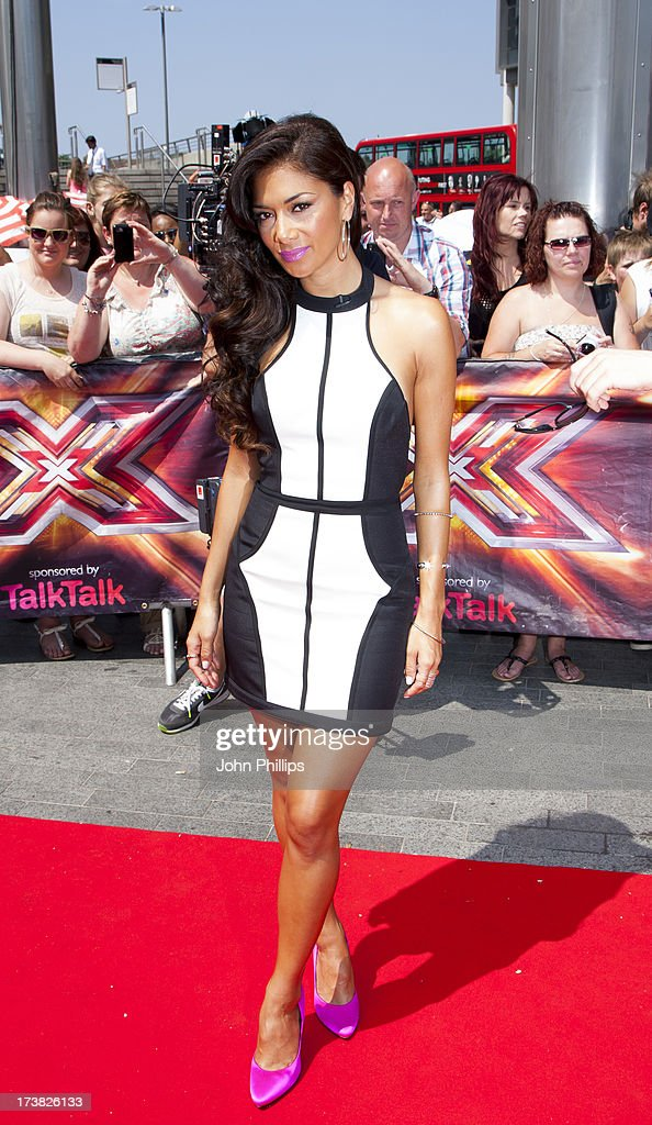 Nicole Scherzinger arrives for the last day of the London auditions of The X Factor at Wembley Arena on July 18, 2013 in London, England.