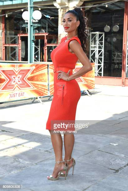 Nicole Scherzinger arrives for the London auditions of The X Factor at Tobacco Dock on July 6 2017 in London England