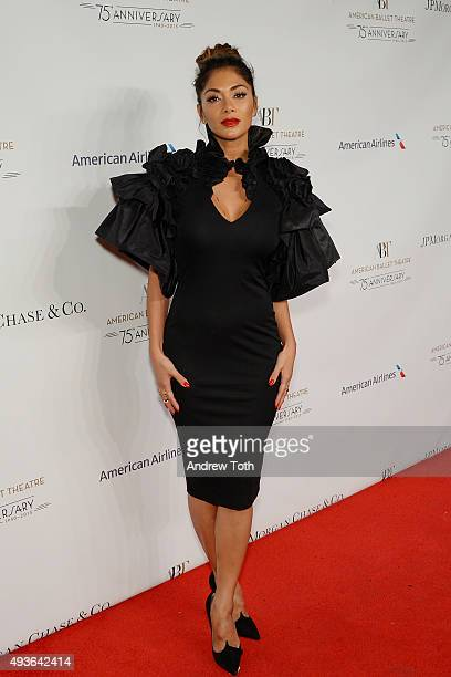 Nicole Scherzinger attends the American Ballet Theatre's 75th Anniversary Gala at David H Koch Theater Lincoln Center on October 21 2015 in New York...