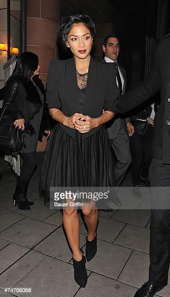 Nicole Scherzinger is seen leaving a restaurant on November 04 2012 in London United Kingdom