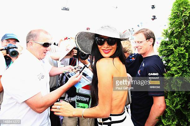 Nicole Scherzinger of the Pussycat Dolls girlfriend of Lewis Hamilton of Great Britain and McLaren Mercedes arrives in the paddock before the Monaco...