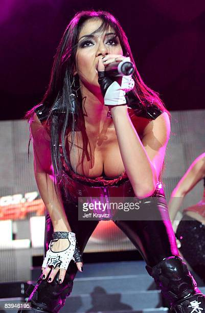 Nicole Scherzinger of The Pussycat Dolls performs at the 1027 KIIS FM Jingle Ball at The Honda Center on December 6 2008 in Anaheim California