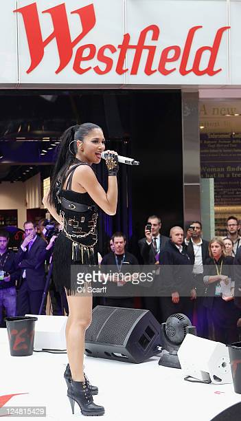 Nicole Scherzinger performs at the launch of the Westfield Stratford City shopping centre on September 13 2011 in London England The new Westfield...