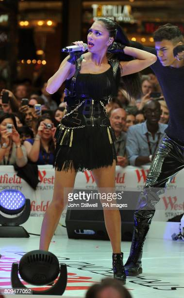 Nicole Scherzinger performs to shoppers at the opening of Westfield Stratford City shopping centre in east London Europe's largest urban shopping...