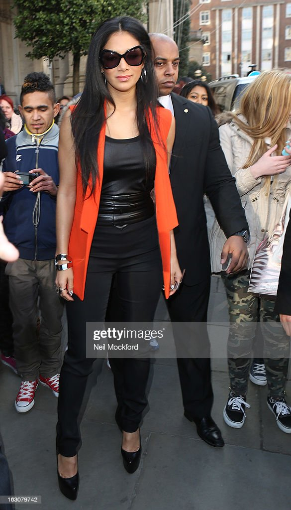 Nicole Scherzinger seen leaving The Langham Hotel on March 4, 2013 in London, England.
