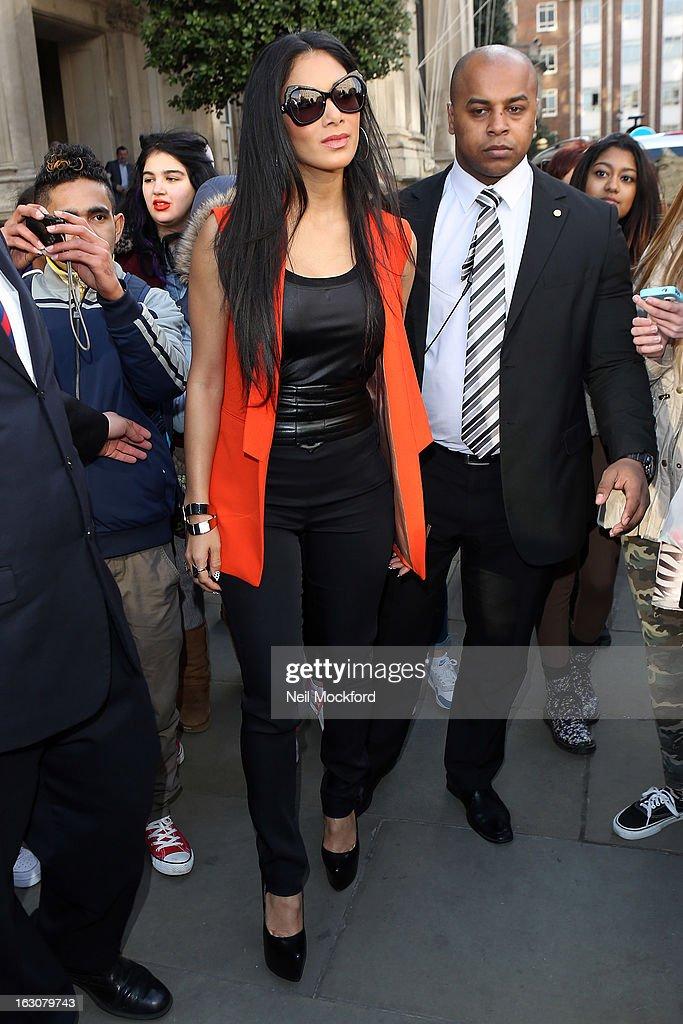 Nicole Scherzinger seen leaving The Langham Hotel on March 4, 2013 in London, England.