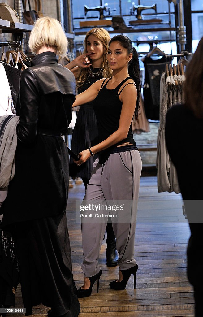 Nicole Scherzinger shops at the All Saints store in Westbourne Park on October 11, 2012 in London, England.