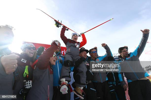 Nicole Schmidhofer of Austria celebrates winning the gold medal after the flower ceremony for the Women's Super G during the FIS Alpine World Ski...