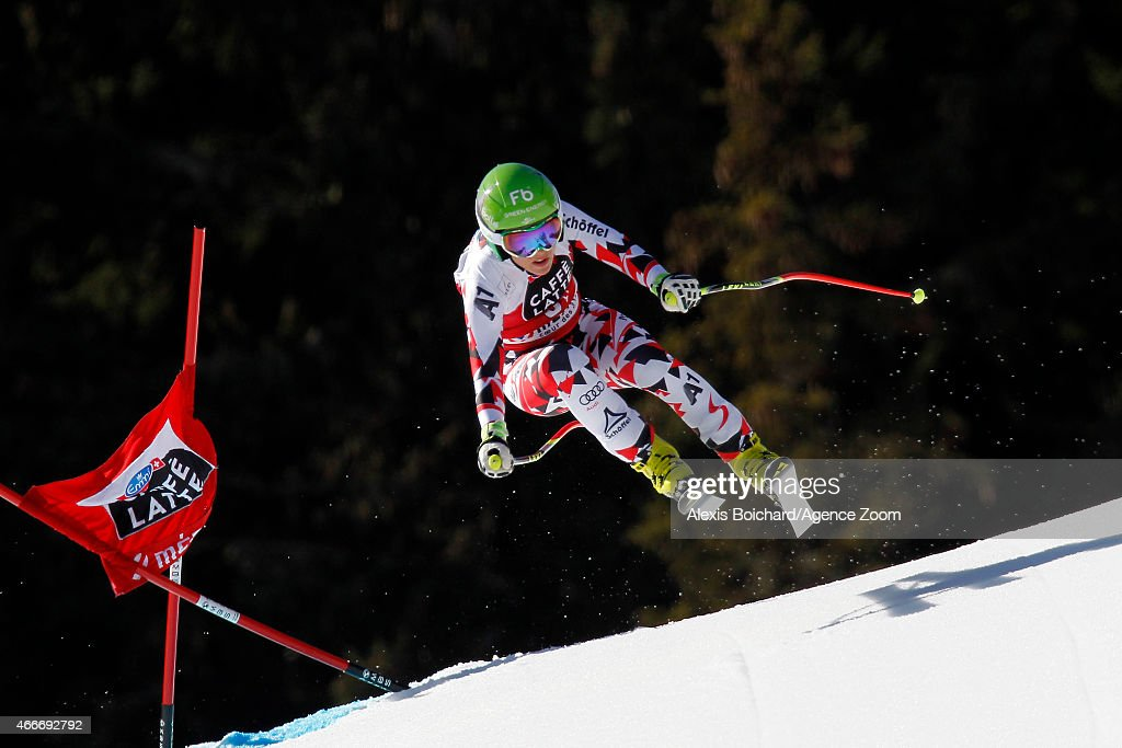 Nicole Schmidhofer of Austria competes during the Audi FIS Alpine Ski World Cup Finals Women's Downhill on March 18, 2015 in Meribel, France.